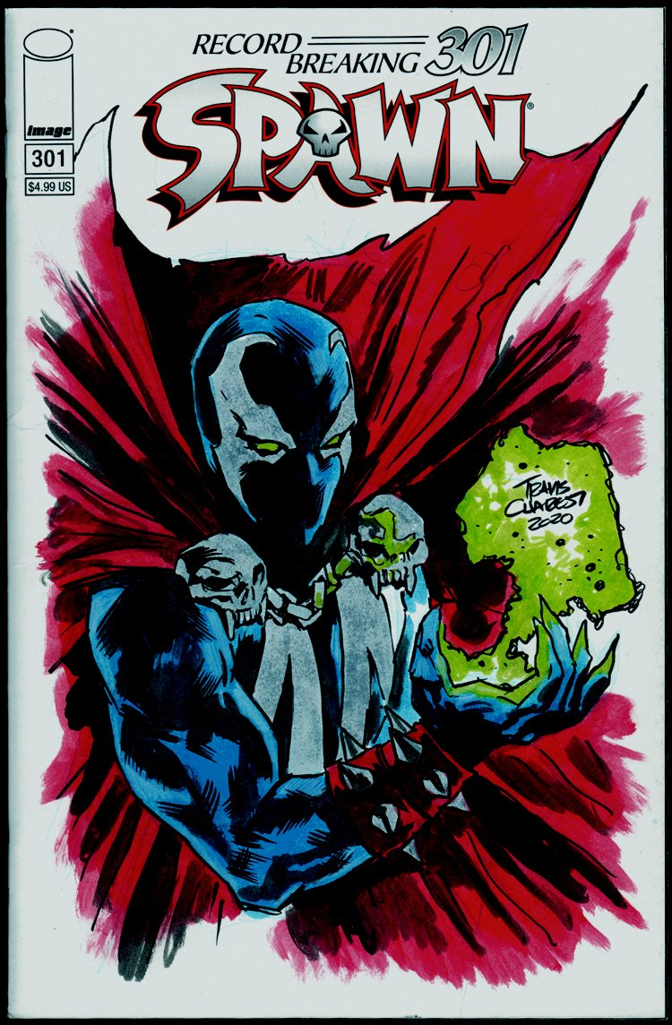 Spawn #301 Penciled, Inked & Hand-Colored Sketch Cover (2020)