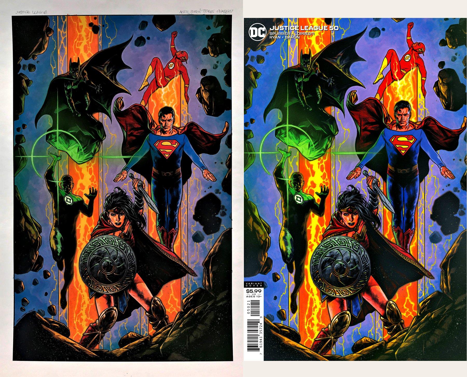 Justice League #50 Large Painted Cover (Wonder Woman, Green Lantern, Batman, Superman, Flash!)