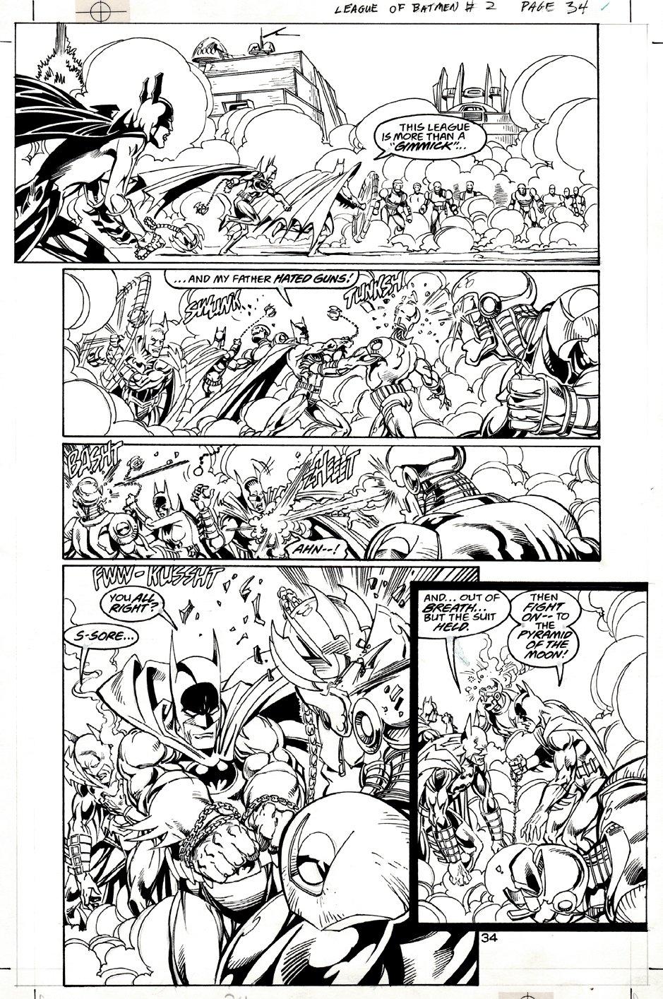 Batman: League of Batmen #2 p 34 (Multiple Batmen Battle Page!) 2001