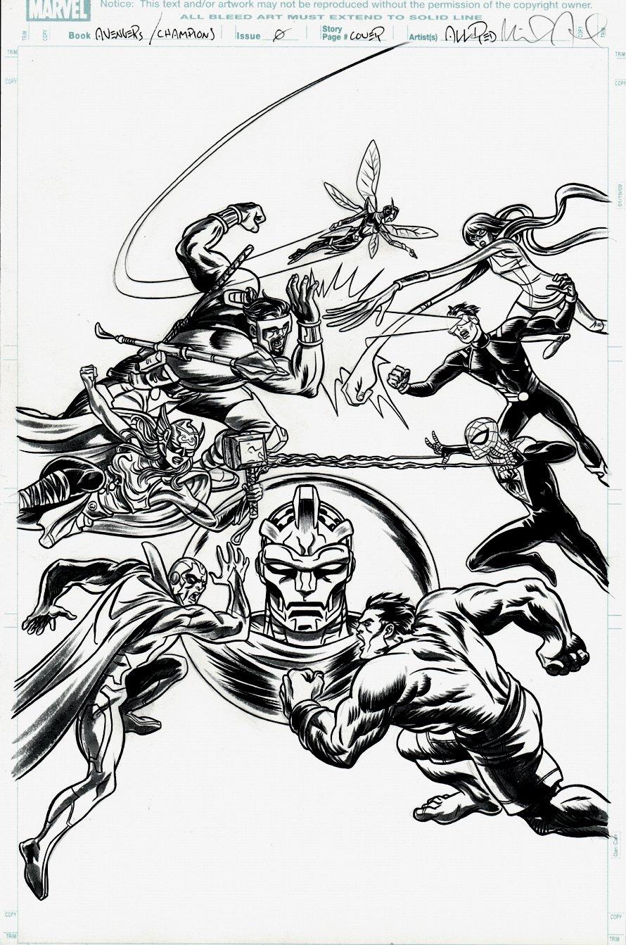 Avengers #672 Cover (Battling The Champions) 2017
