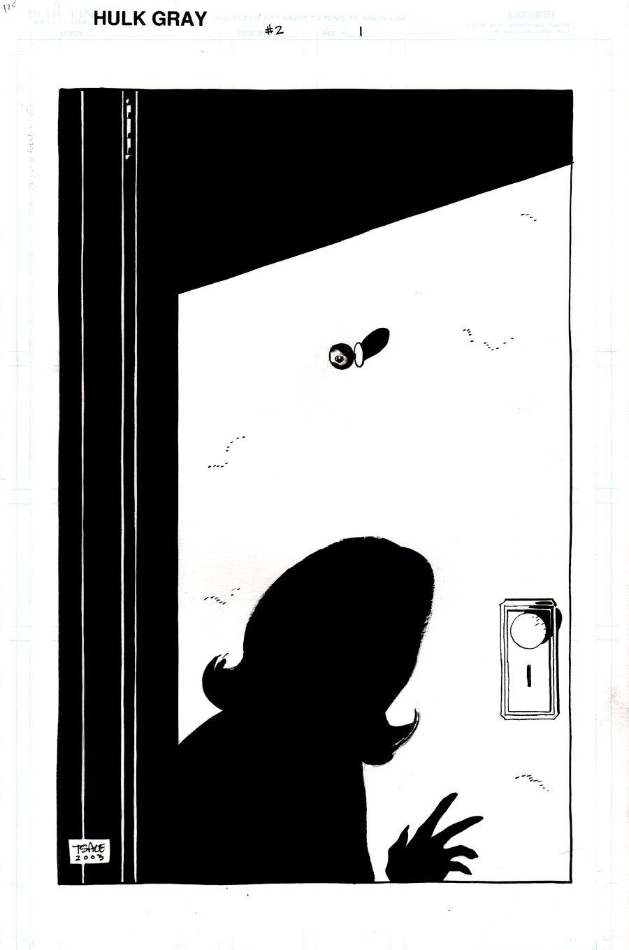 Hulk: Gray #2 p 1 SPLASH (BETTY SEES HULK THROUGH DOOR PEEP HOLE!) 2003