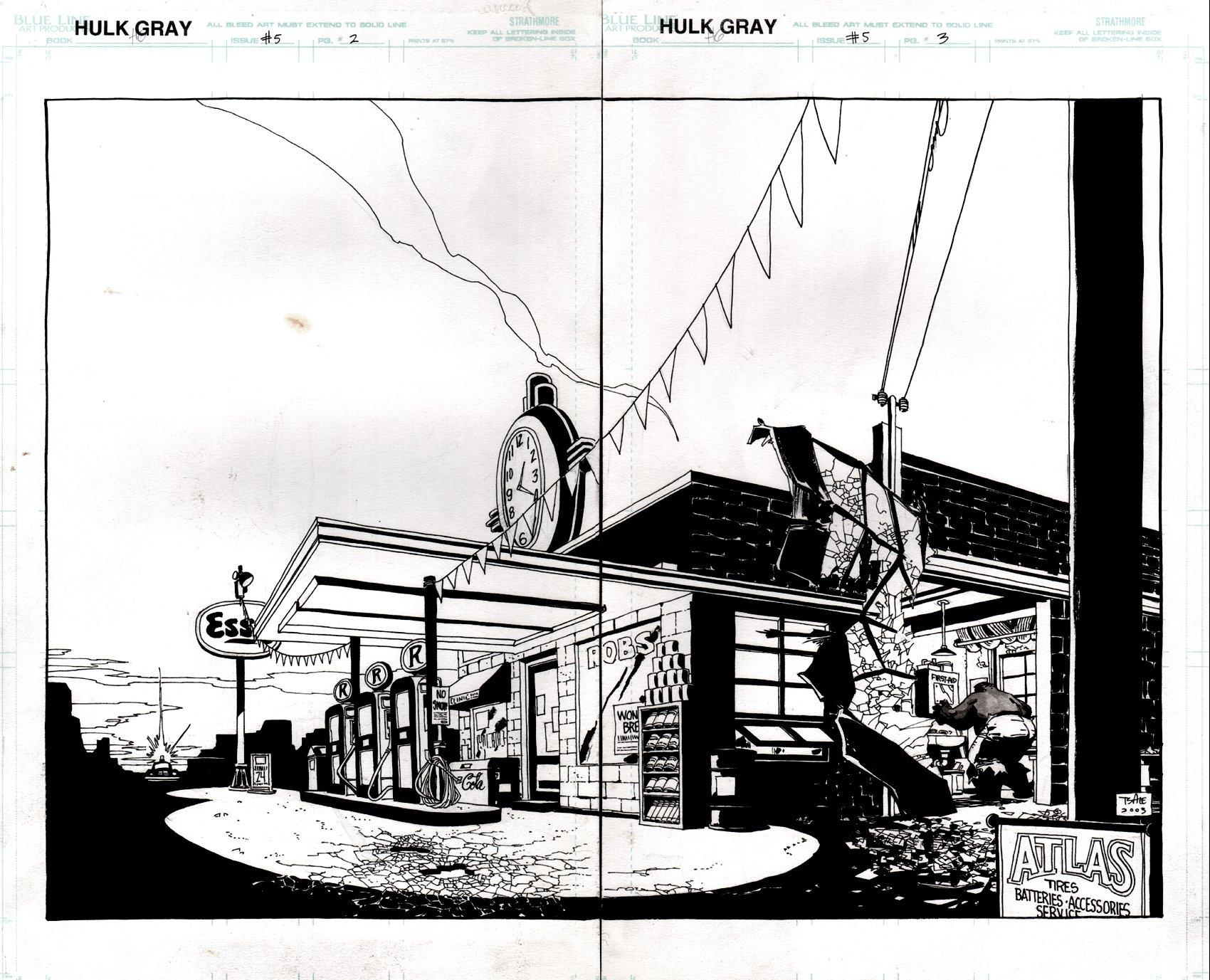 Hulk: Gray #5 p 2-3 Double Spread SPLASH (HULK TRASHES GAS STATION!) 2003