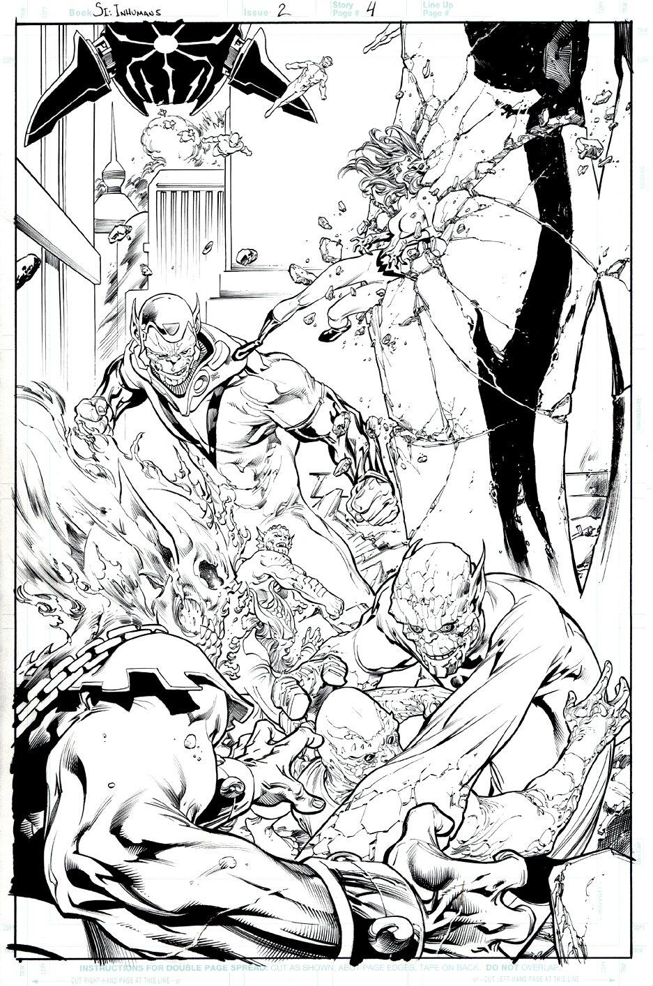 Secret Invasion: Inhumans #2 p 4 SPLASH (Ghost Rider & Inhumans Battle Super Skrulls!) 2008