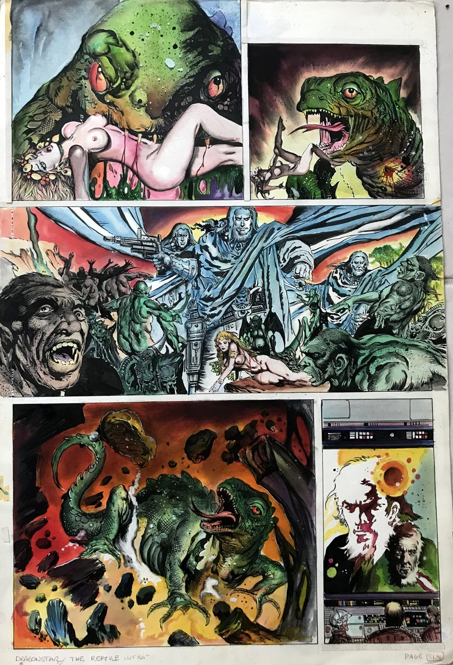 Dragonstar #1 p 6 (Hand Colored Large Art  Nude Babe Published Page!)