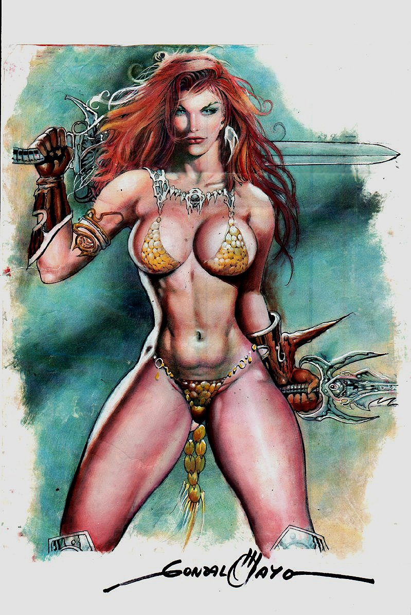 Red Sonja Painted  Pinup (1980s)
