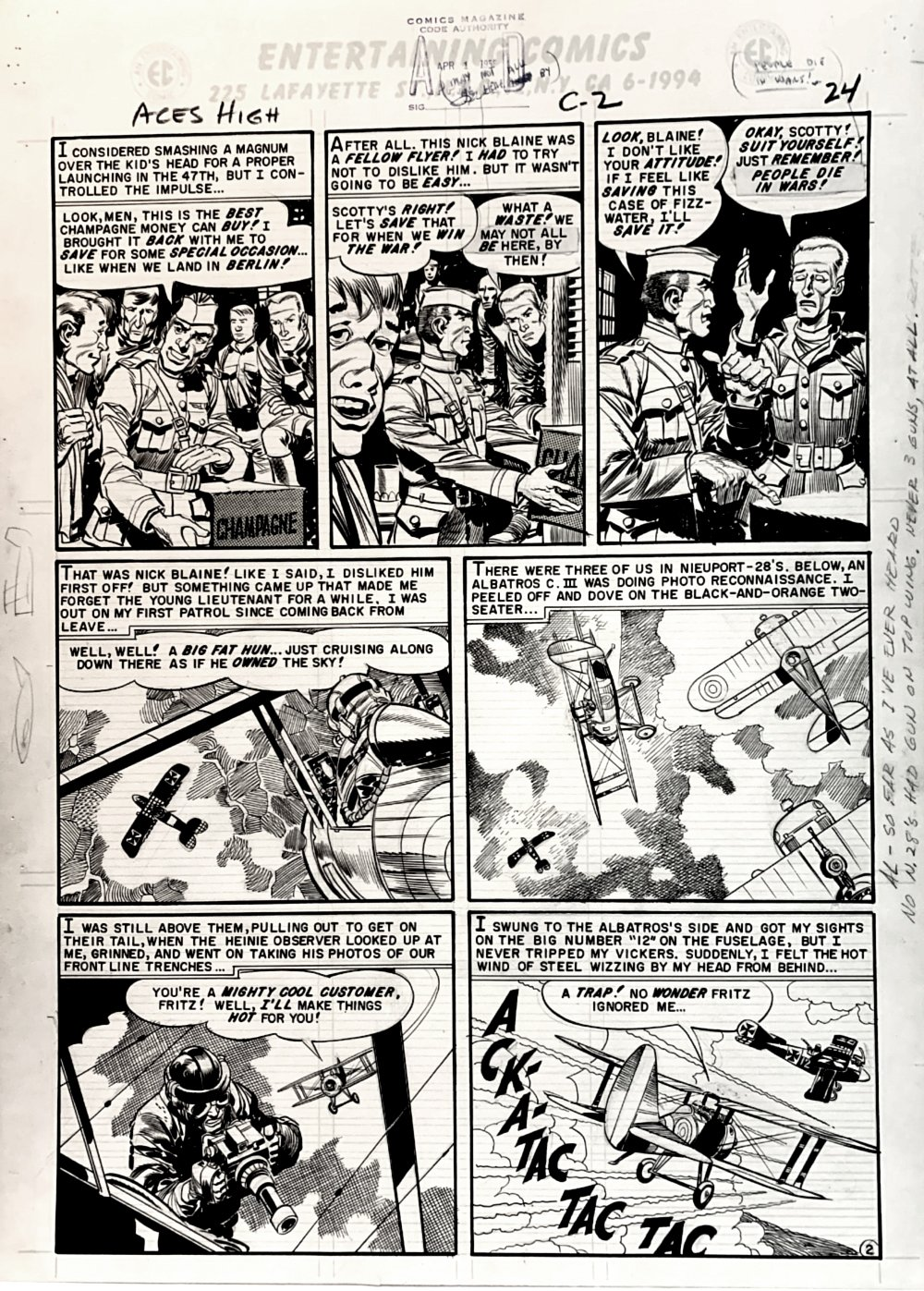 Aces High #3 p 2 (GREAT WORLD WAR 1 BATTLE!) Large Art -1955