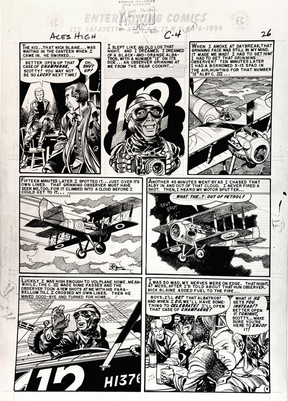 Aces High #3 p 4 (GREAT WORLD WAR 1 BATTLE!) Large Art -1955