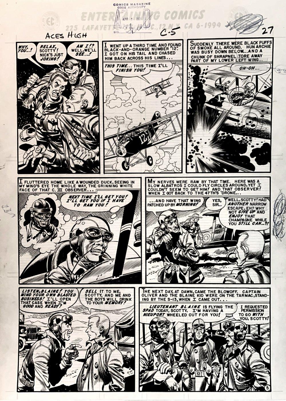 Aces High #3 p 5 (GREAT WORLD WAR 1 BATTLE!) Large Art -1955