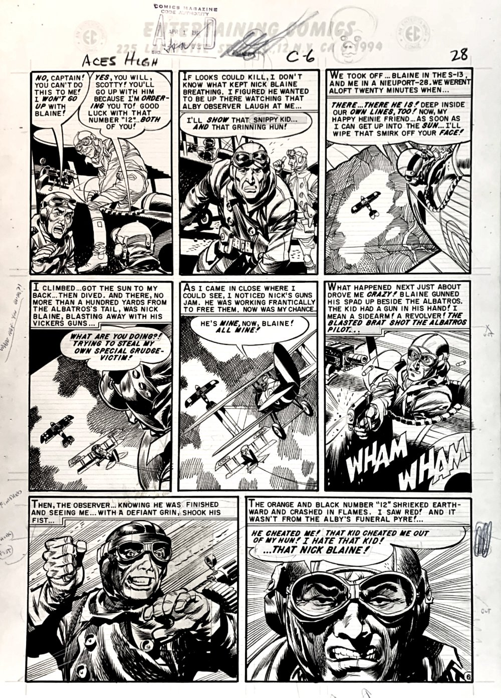 Aces High #3 p 6 (GREAT WORLD WAR 1 BATTLE!) Large Art -1955