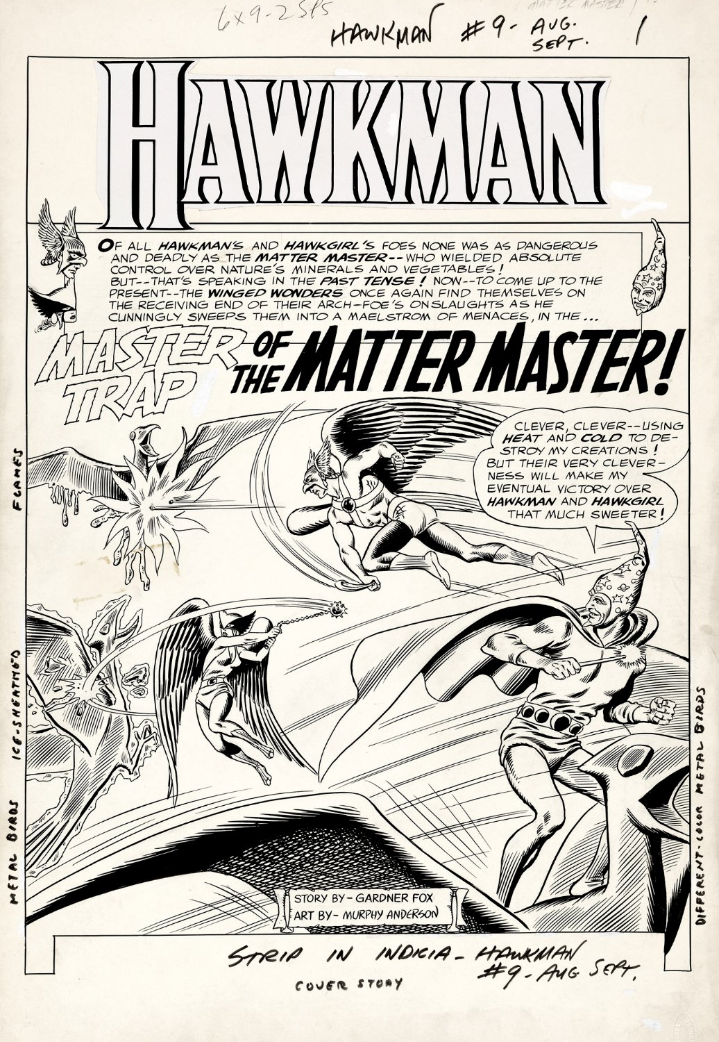 Hawkman #9 p 1 BATTLE SPLASH (Large Art) 1965