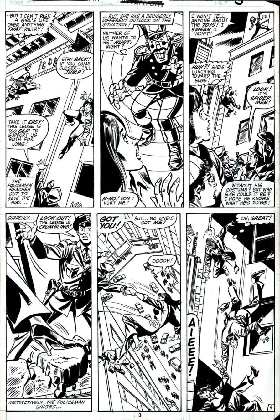 Spectacular Spider-Man #53 p 3 (Spider-Man in 3 of 6 Panels Saving Girl and Policeman!) 1981