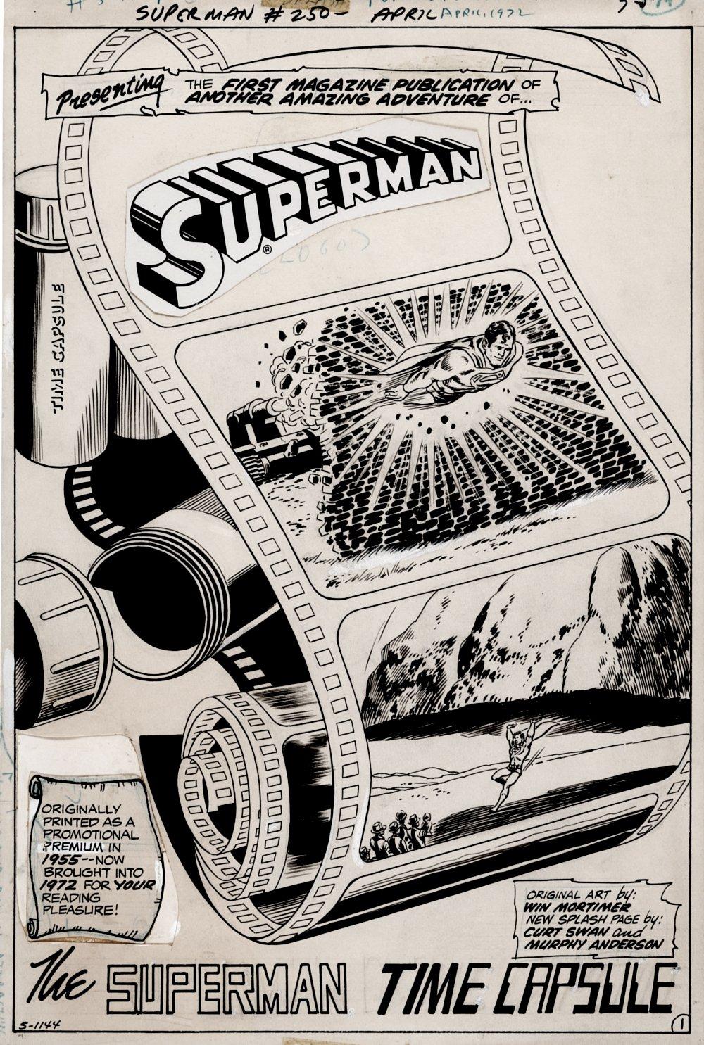 Superman #250 p 1 SPLASH (Superman Flies Off The Film Roll!) 1971