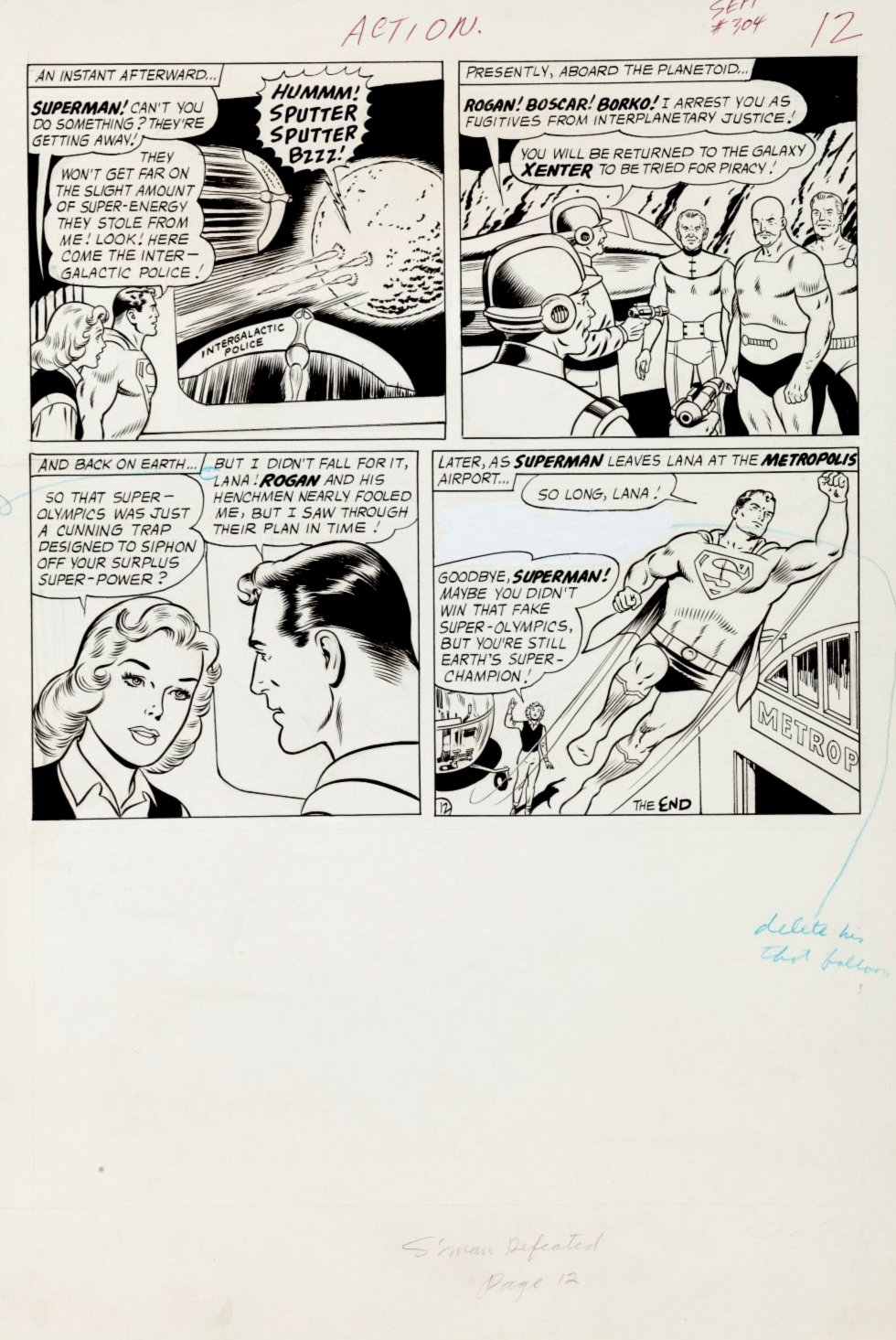 Action Comics #304 p 12 (SUPERMAN IN 3 OF 4 GREAT PANELS! Large Art - 1963