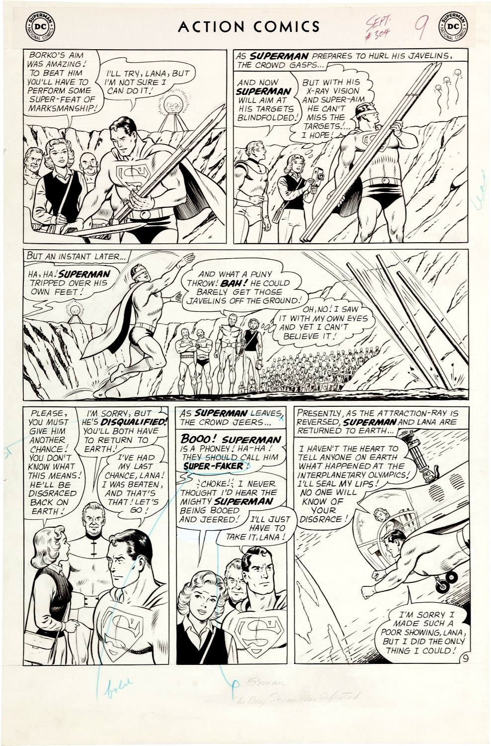 Action Comics #304 p 9 (SUPERMAN IN ACTION IN EVERY PANEL! Large Art - 1963