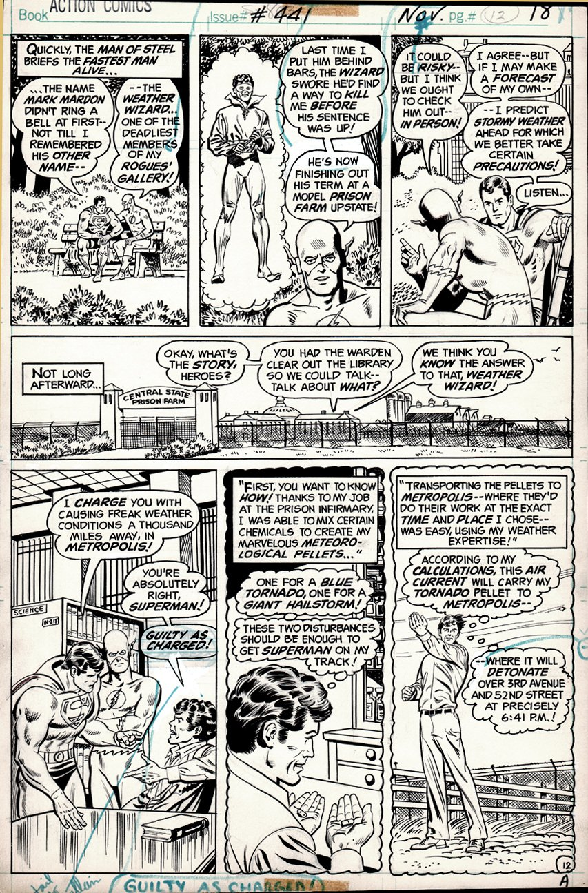 Action Comics #441 p 12 (Flash, Superman, Weather Wizard!) 1974