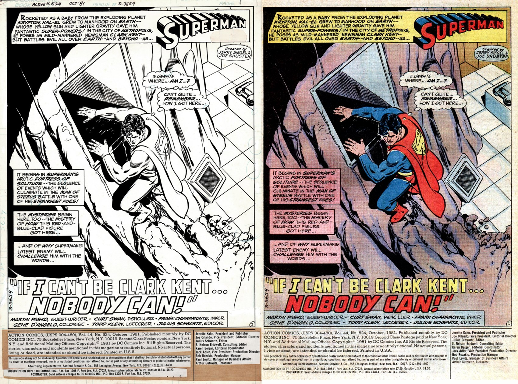 Action Comics #524 p 12 SPLASH (Superman Crawls Up The Fortress Of Solitude!) 1981