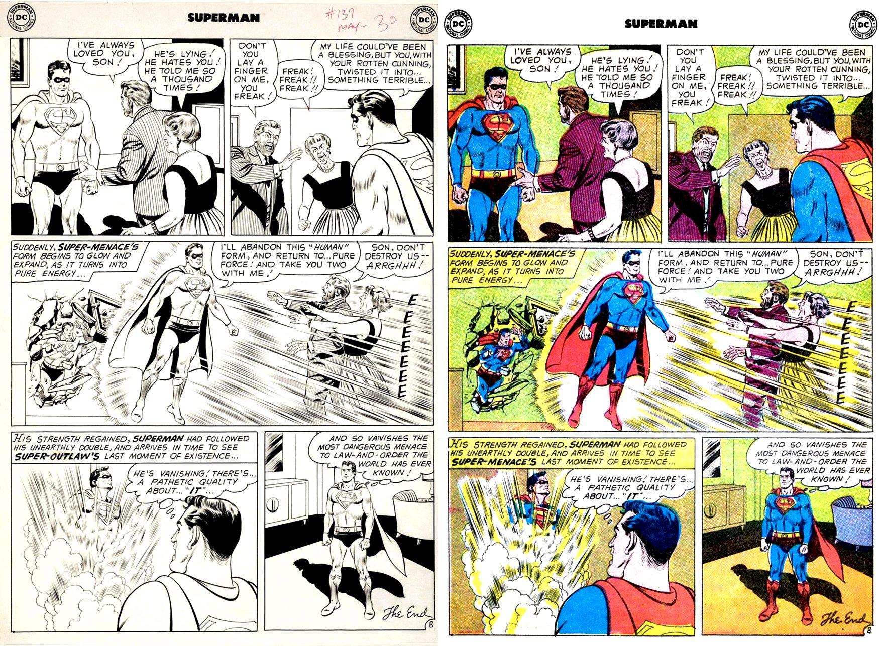 Superman #137 p 8 (VERY EARLY SWAN / FORTE SUPERMAN ART!) Large Art - 1959