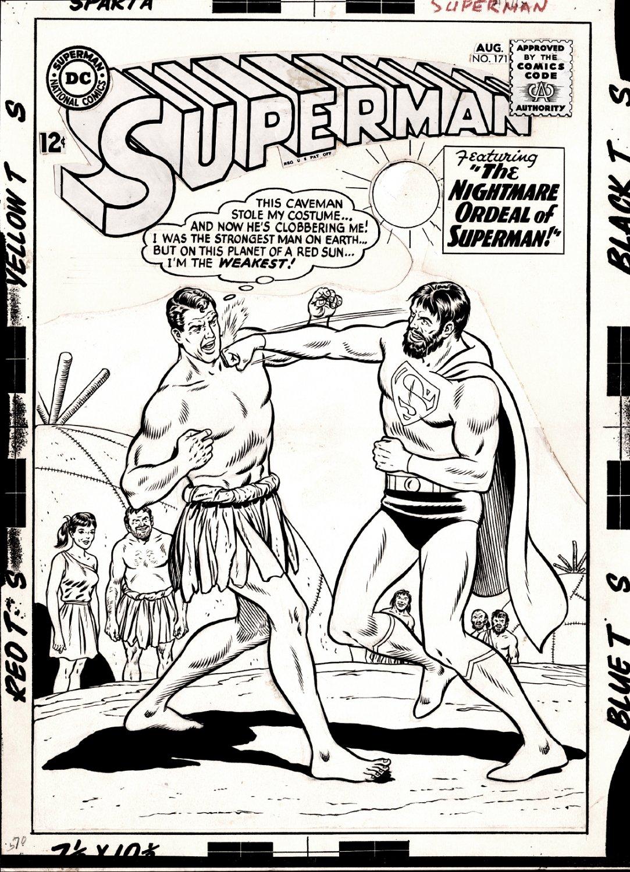 Superman #171 Cover (2 Supermans Battling!) Large Art - 1964