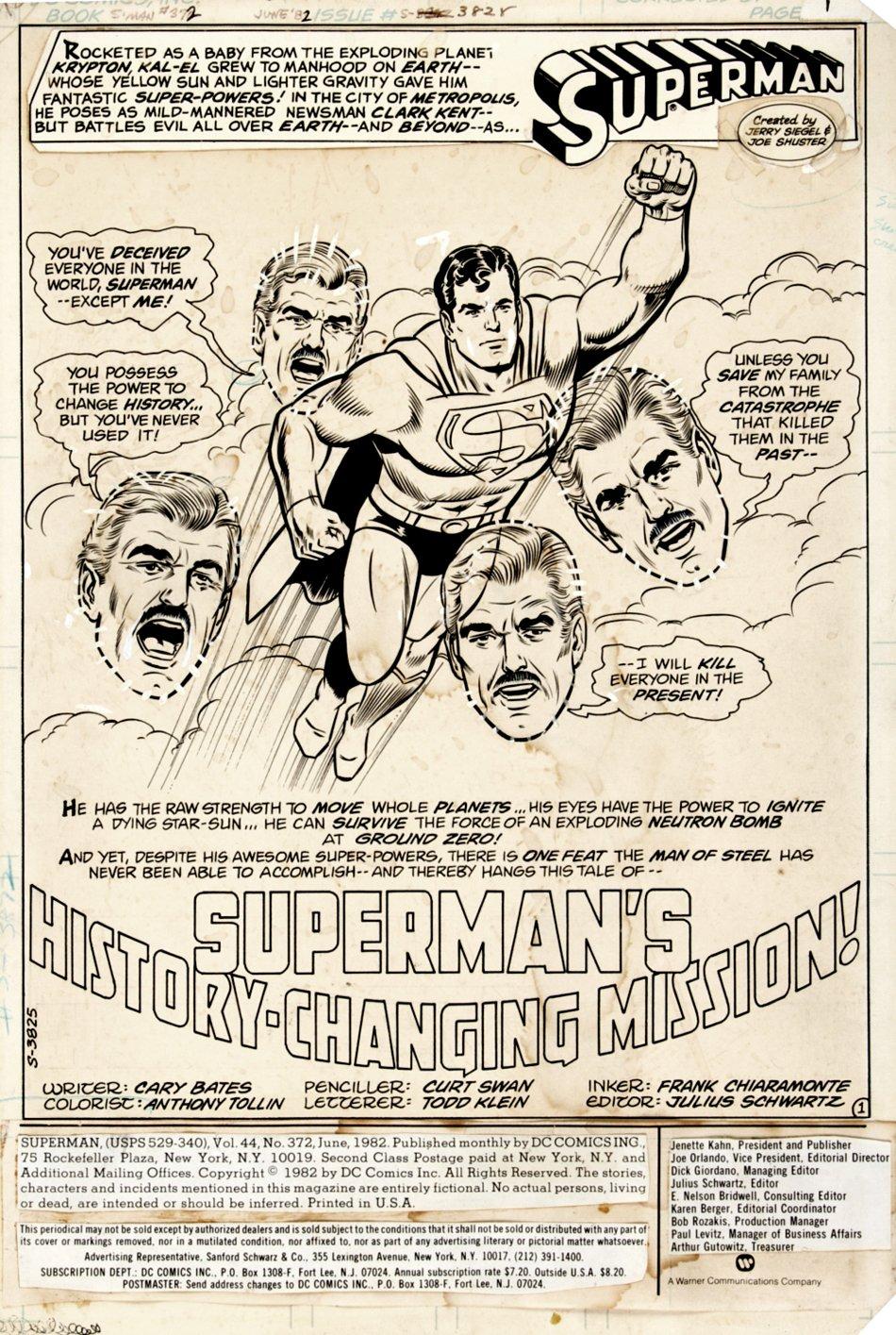 Superman #372 p 1 (Large Full Body Flying Superman!) 1982